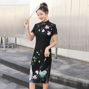 Women-Bodycon-Dress-Retro-Cheongsam-Chinese-Style-Floral-Short-Sleeve-Slim-Qipao
