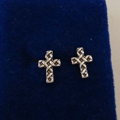 Sterling Silver TINY 11x7mm Weave Pattern Cross Post Stud Studs Posts  Earrings