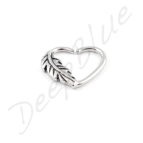 PVD Rose Gold HEART RING with FEATHER  1.2 x 10mm Daith Helix Rook Tragus Ear