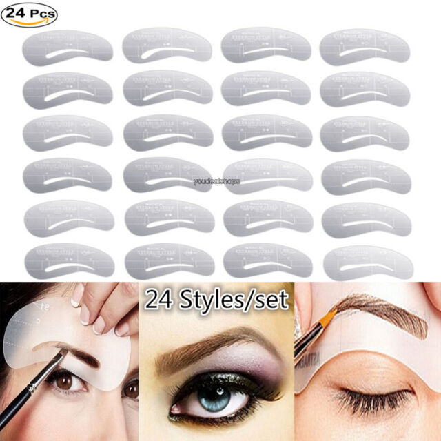 24 Styles Eyebrow Shaping Stencils Grooming Kit Makeup Shaper