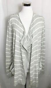 Gap-Waterfall-Front-Cardigan-Striped-Lightweight-Gray-White-Sweater-size-Medium