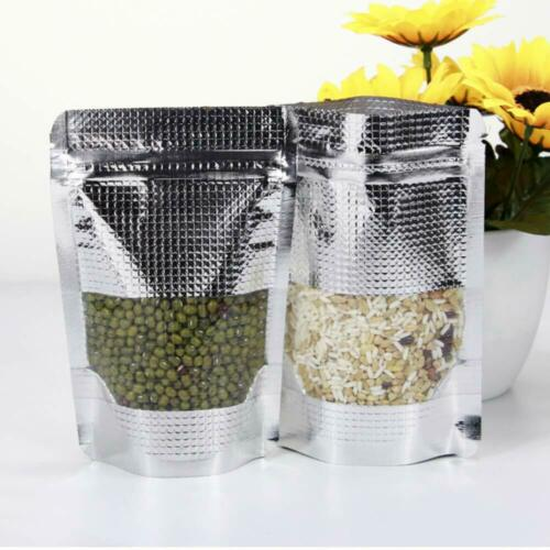 Embossing Silver Aluminum Stand Up Foil Zip Lock Bags Food Pouches With Window