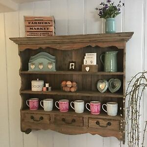 Rustic Chic Country Farmhouse Wooden Wall Dresser Shelf