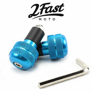 2FastMoto-Blue-Aluminum-Bar-Ends-Anti-Vibration-Pair-7-8-034-Bars-Scooter-Moped