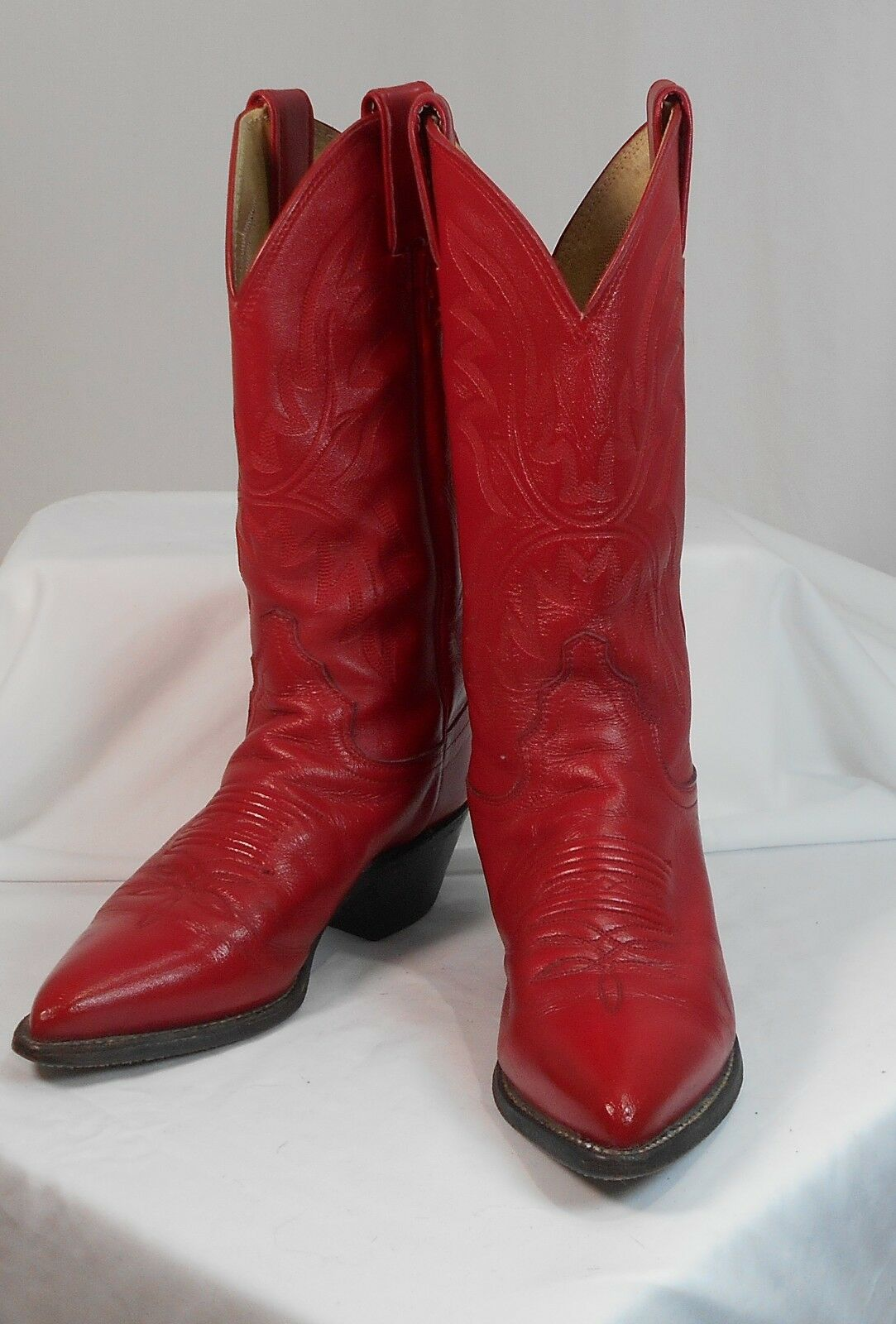 JUSTIN WOMENS SIZE 5 B  STYLE L 4905 RED HOT RED LEATHER EXCELLENT CONDITION