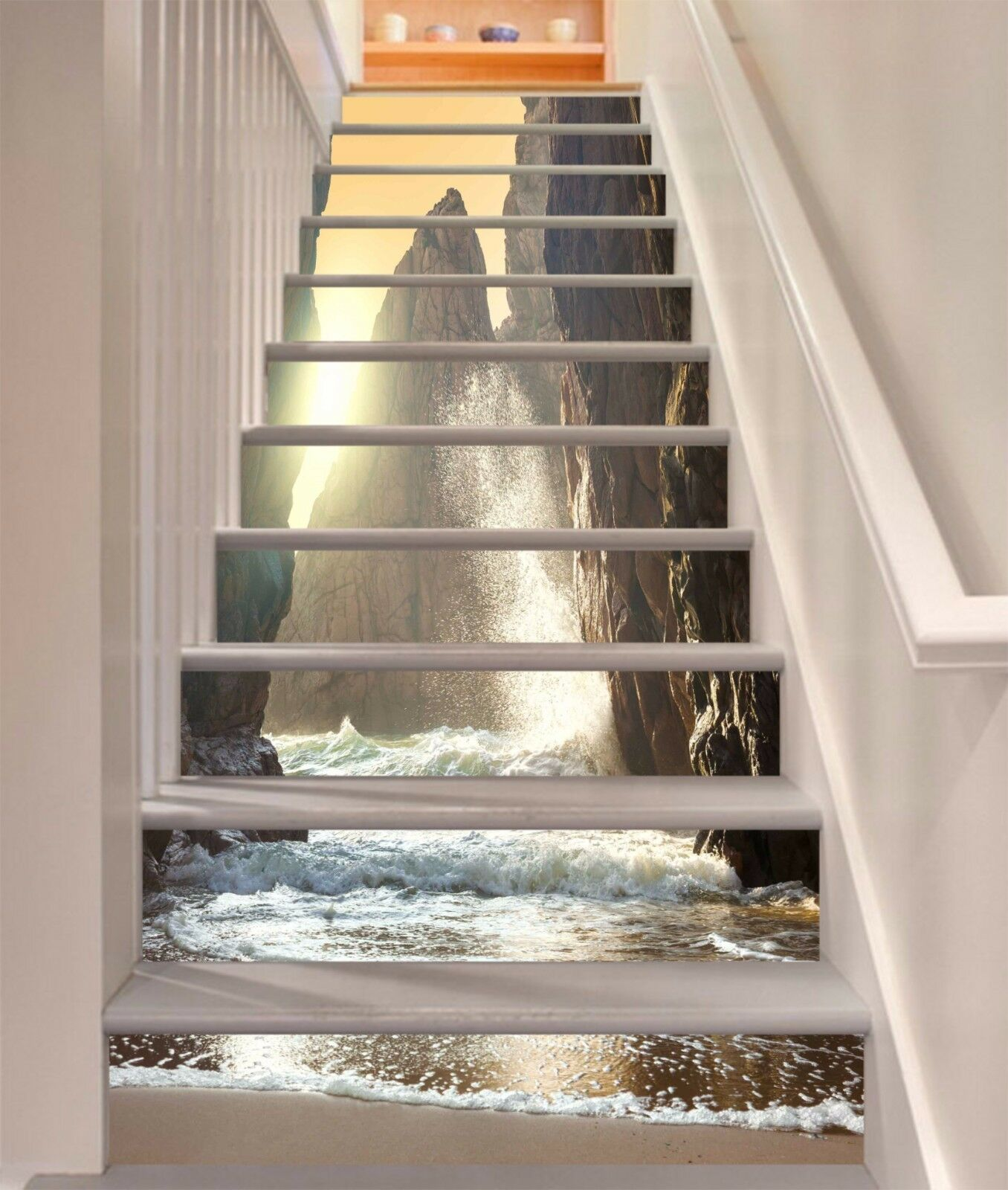 3D Sea Tower Hills Stair Risers Decoration Photo Mural Vinyl Decal Wallpaper UK