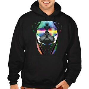New Men's DJ Pug Black Hoodie Cool Neon Sunglasses College Party Graphic Sweater