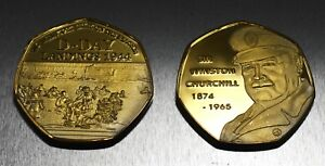 24ct Gold WINSTON CHURCHILL Commemorative Coin D-DAY LANDINGS 50p Collectors NEW