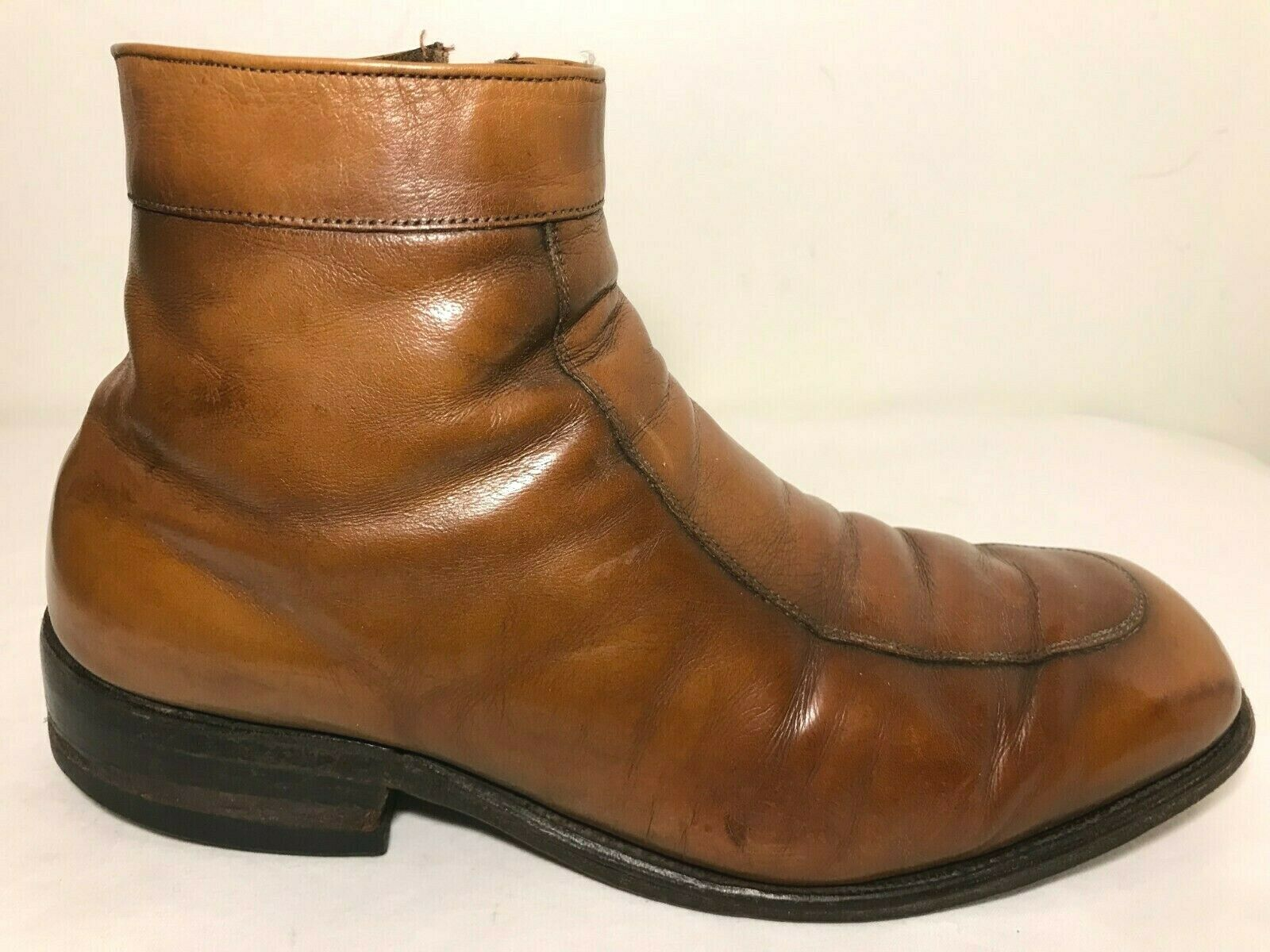 Allen Edmonds Ankle Boots Mens 8.5 EEE Mod Hipster Brown Leather Side Zip