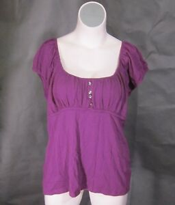 NEW-One-Step-Up-Purple-Peasant-Boho-Babydoll-Cotton-Top-Shirt-Blouse-22-24-3x