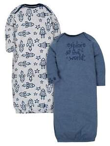 Gerber Baby Boys 2 Pack Organic Lap Shoulder Gowns Size 0-6 Month Rocket Space