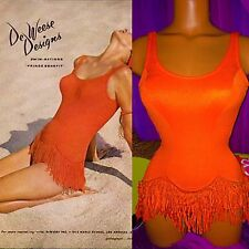 60's Deweese Novelty Hula Fringe Famous Ad Swimsuit Pageant Runway Romper Small