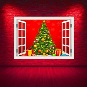 Full-Color-Christmas-Tree-Red-Window-Wall-Art-Sticker-Graphic-Decal-WSDW50