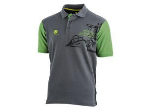 Genuine-John-Deere-Men-039-s-Grey-Combine-Polo-Shirt-MCL201601
