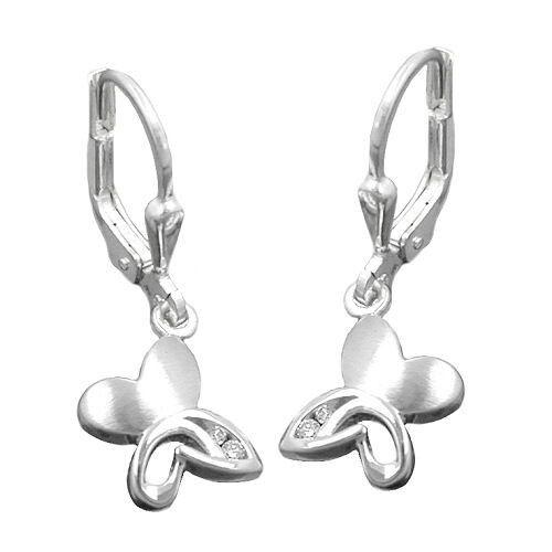 Las chicas aretes mariposa mujeres ohrhänger colgadores de plata auténtica 925 Rhod