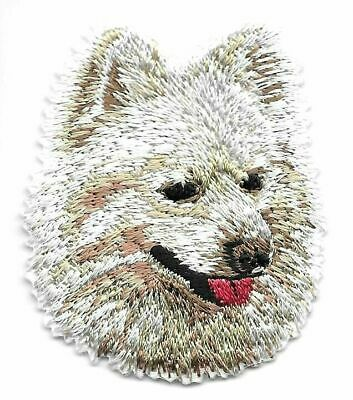 """1 3//4/"""" x 2 1//8/"""" Japanese Spitz Portrait Dog Breed Embroidery Patch"""