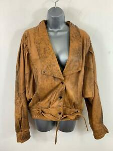 WOMENS-BORN-FREE-BROWN-BLACK-CASUAL-V-NECK-POPPER-LEATHER-JACKET-SIZE-LARGE