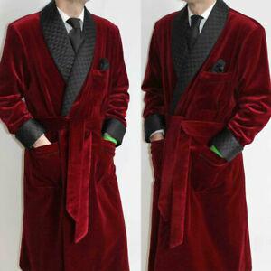 Men Smoking jackets Black Velvet Robe