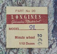 Vintage Longines Watch 9l Minute Wheel Swiss Part In Original Packaging