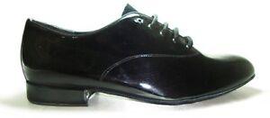 MONDIAL-SHOES-1-scarpe-da-ballo-uomo-bambino-tacco-20-US-nere-basse-lucide-pelle