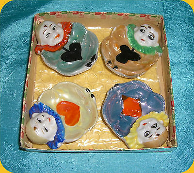 Vintage Set of 4 Individual Ashtrays w/Playing Card Suites and Figural Clowns