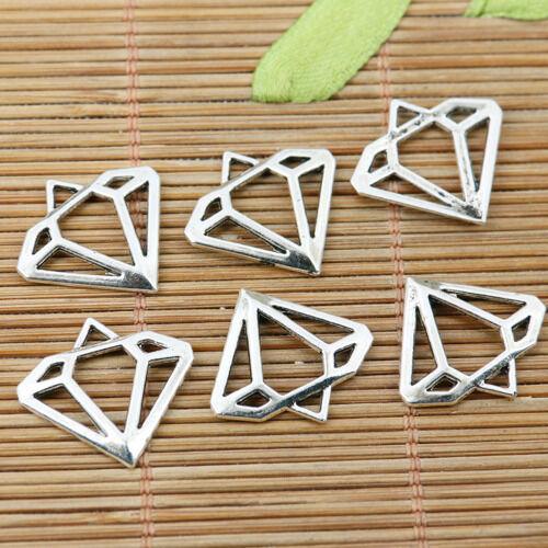 28pcs tibetan silver plated hollow diamon shaped charms EF2246