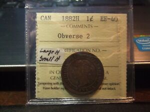 CANADA-1-CENT-1882H-ICCS-EF-40-LARGE-H-over-SMALL-H
