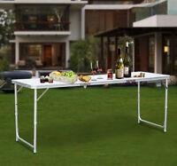 "Outdoor Adjustable Aluminum Camping Picnic Three Folding Table 72""L x 25""W New"