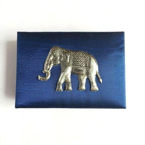 Silk Card ID Holder Elephant Trinket Box Handmade Keepsake Storage Case Souvenir