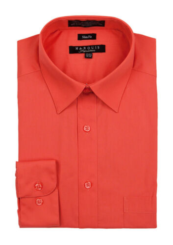 Marquis Mens Slim Fit Solid Cotton Blend Dress Shirt 009SL ALL COLORS ALL SIZES