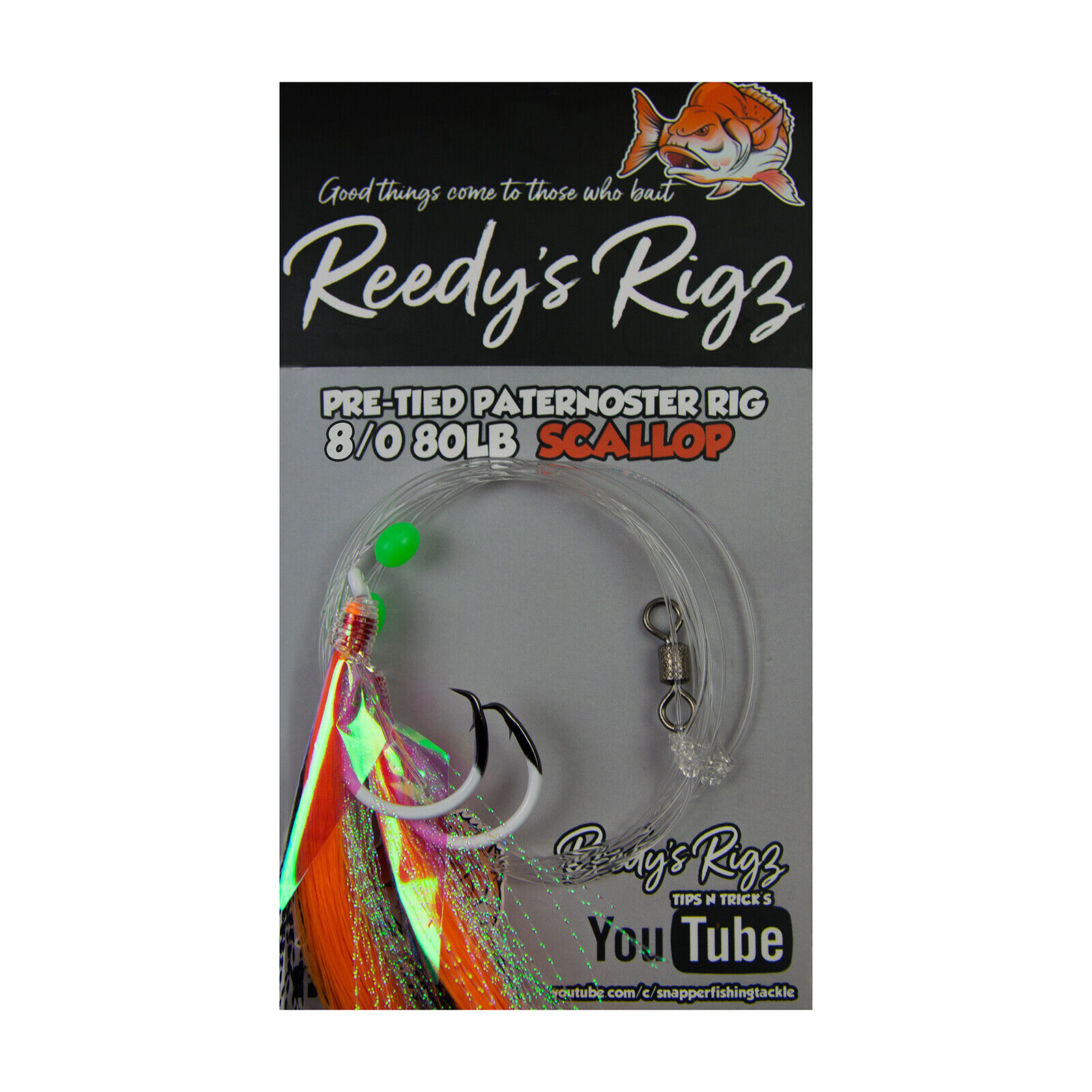 4x Snapper Rig Size 8 0 80lb Paternoster Mixed Colour Reds Ultra Flasher Rig