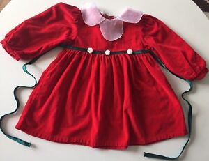 Vintage-Dress-Baby-Girls-Toddlers-Christmas-Red-Dress-Size-18