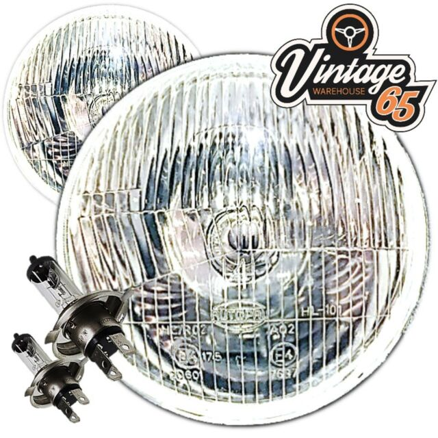 "Vintage Warehouse 5 & 3/4"" H4 Halogen Conversion Headlights Head Lamps No Pilot"