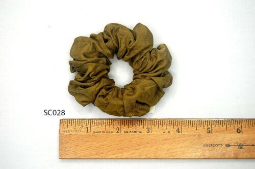 Silk Hair Scrunchies Ponytail Holder Elastic Ties Hair Band Khaki Yellow SC028