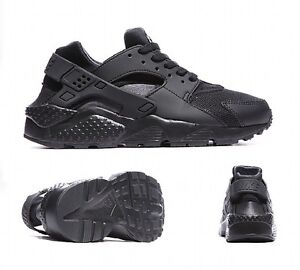08c126f3844 Details about NIKE AIR HUARACHE RUN GS BLACK JUNIOR/WOMEN TRAINER TRIPLE  BLACK SIZES UK 3-6