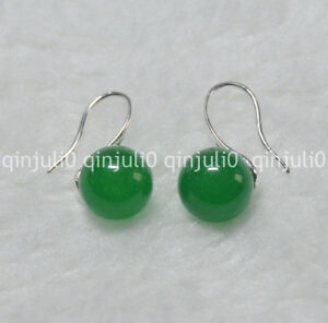 Natural-10mm-round-Green-Jade-gemstone-Beads-silver-Hook-Dangle-Earrings-JE93