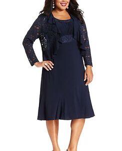 RM Richards Plus Size Lace Sequin Navy Blue Dress - Navy | eBay