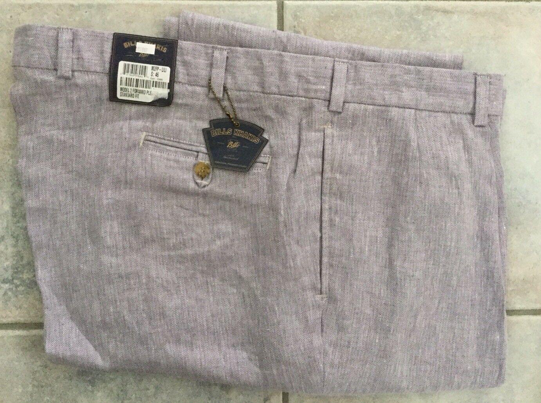 NWT-Bills khakis M2FP-Size 36 FORWARD PLEAT purpleC 100% LINEN
