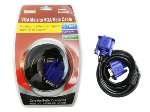 6Ft 15 pins connectors VGA Male to VGA Male Cable with Screw in Ends