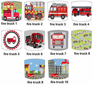 Boys-Trucks-Lampshade-Ideal-To-Match-Fire-Engine-Duvets-amp-Fire-Truck-Wall-Decals
