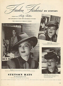340e9e6ca4bf 1944 WW II. era AD STETSON Hats for Women Film Noir Styles 062516