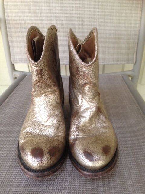 ASH Gold Distressed Leder Leder Distressed JUDY Ankle Stiefel Sz 38 US 7 7.5 Retail 350 ba54bf