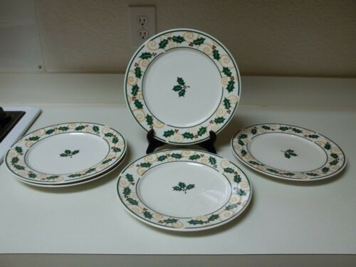 Retroneu Stoneware Golden Holly Set of 5 Dinner Plates 10 12 Inch
