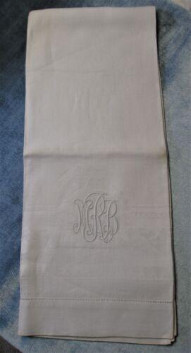 Antique Linen Damask Bath Towel M R B Monogram Clover Garlands Ribbons Unused?