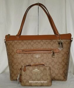 NWT COACH TYLER TOTE SIGNATURE SADDLE BROWN SHOULDER HANDBAG ...