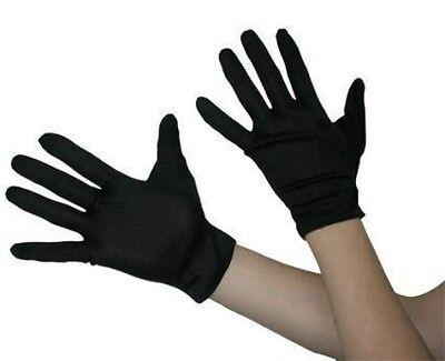 Adult Short Black Gloves Halloween Costume Gangster Robber Magician Womens Mens