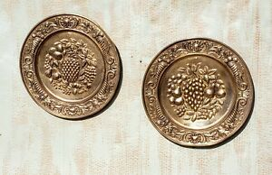 Set Of 2 Vintage Peerage Brass Wall Plates Decor Made In England