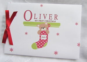 personalised baby s first 1st christmas stocking photo scrapbook