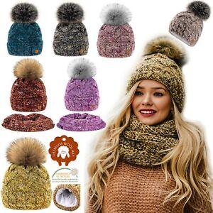 Set-Scarf-amp-Hat-Women-Winter-Alpaca-Wool-Knitted-Beanie-Hat-Neck-Fleece-Pom-Pom