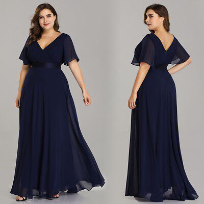 Ever-Pretty Plus Size Long V-neck Bridesmaid Dress Navy Blue Evening Gown  09890 | eBay